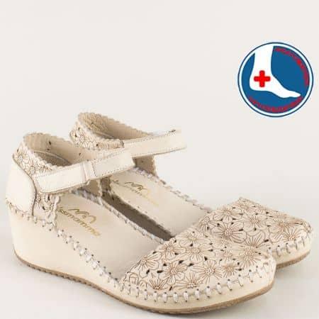 Шити дамски сандали с коланче и лепка в бежов цвят 4108bj