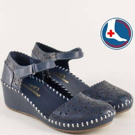 Сини дамски сандали с перфорация и кожена стелка 4108s