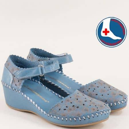 Дамски сандали в син цвят със затворени пръсти и пета 4108ss