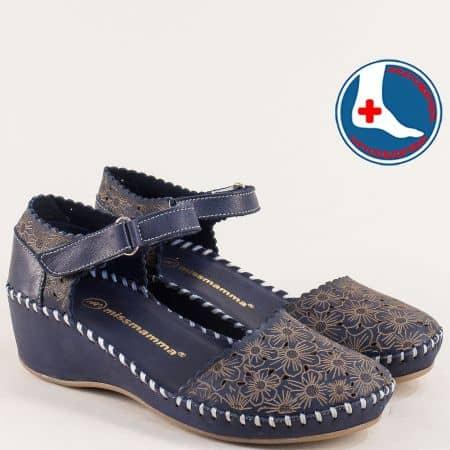 Тъмно сини дамски сандали на клин ходило с лепка 4108ts
