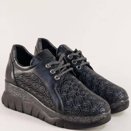 Черни дамски обувки от естествена кожа на платформа 4109ch