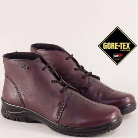 Кожени дамски боти с Gore- Tex мембрана в цвят бордо 4111bd