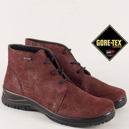 Дамски боти цвят бордо изработени от естествен велур с Gore- Tex мембрана 4111vbd