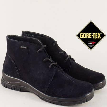 Велурени дамски боти в черен цвят с Gore- Tex мембрана 4111vch