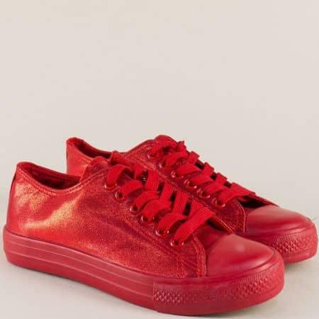 Червени дамски кецове с връзки и луксозен блясък  412-40chv