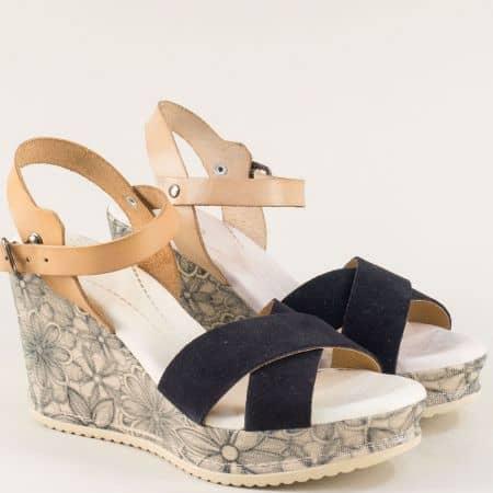 Испански дамски сандали от естествена кожа на висока платформа в черен и бежов цвят 4131chbj