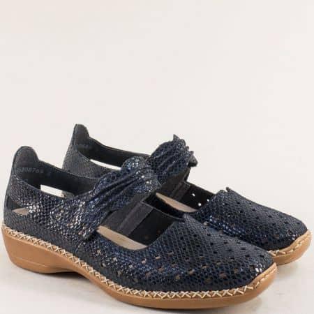 Сини дамски обувки от естествена кожа с лепка- RIEKER 41337s