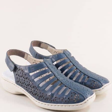 Кожени дамски сандали със затворени пръсти в син цвят- RIEKER 413555s