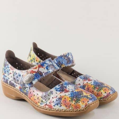 Пъстри дамски обувки Rieker от естествена кожа на комфортно ходило с лепка 41368ps