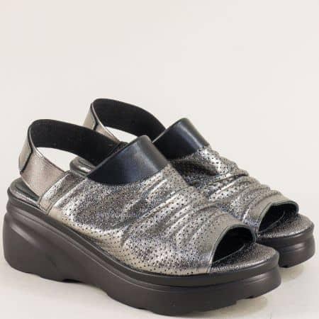 Кожени дамски сандали на платформа в цвят бронз 4168983brz