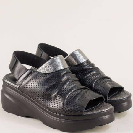 Черни дамски сандали на платформа с кожена стелка 4168983ch