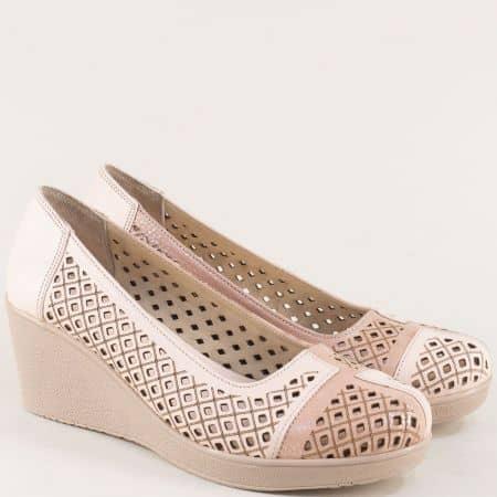 Розови дамски обувки на клин ходило с кожена стелка 416rz