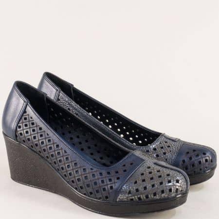 Дамски сини обувки на платформа от естествена кожа 416s