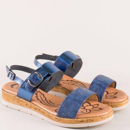 Сини дамски сандали на платформа от естествена кожа 4170s