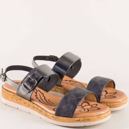 Сиви дамски сандали от естествена кожа с две катарами 4170sr