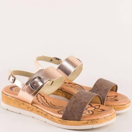 Дамски сандали от естествена кожа в кафяво и злато 4170zlk