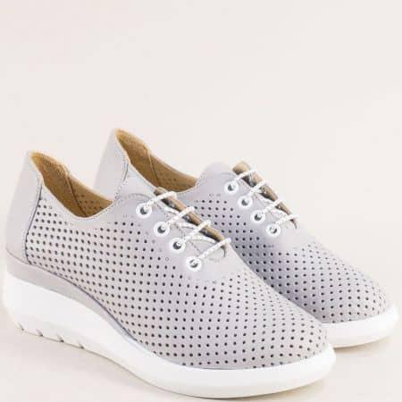 Сиви дамски обувки от естествена кожа с перфорация 41727sv