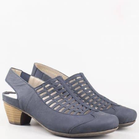 Дамски обувки с прорези на среден ток в син цвят- Rieker  41731s