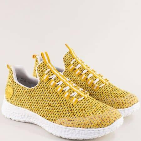 Жълти дамски маратонки с Memory пяна- RIEKER 4174j