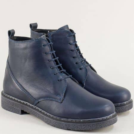 Сини дамски боти от естествена кожа- NOTA BENE 4181105s