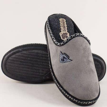Мъжки домашни пантофи в сив цвят- DINAMIC 419176sv