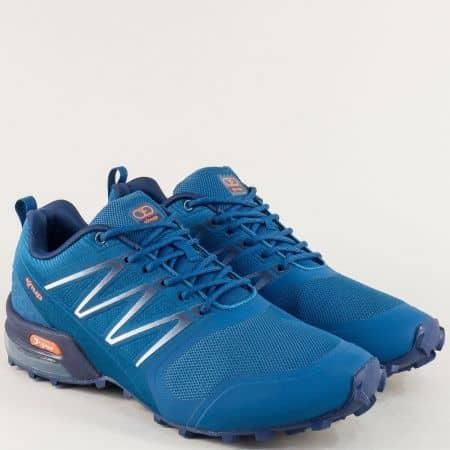 Мъжки маратонки с връзки в син цвят- KNUP 4199-45s