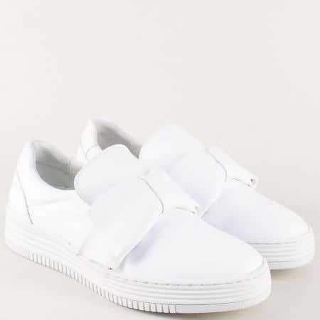 Бели дамски обувки с панделка на шито, равно ходило 420008b