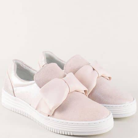 Розови дамски обувки от естествена кожа с панделка 420008rz