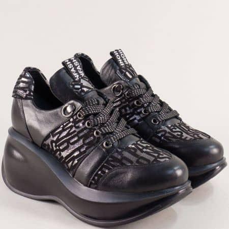 Дамски обувки от естествена кожа на платформа в черно 422525ch