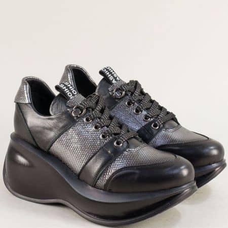 Сребристи дамски обувки с връзки от естествена кожа 422525chsr