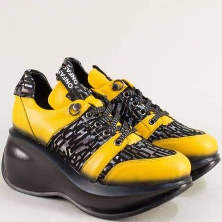 Жълти дамски обувки на платформа от естествена кожа 422525j