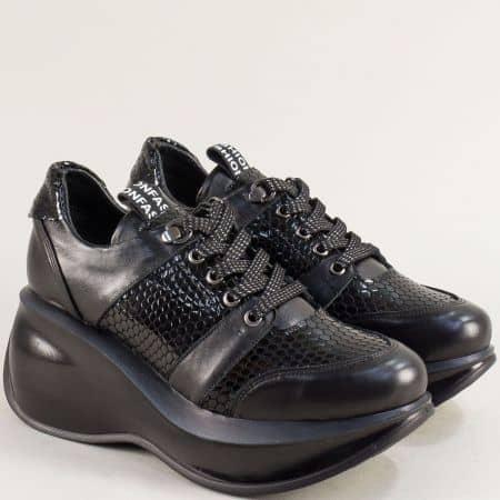 Черни дамски обувки от естествен кроко лак и кожа 422525zch