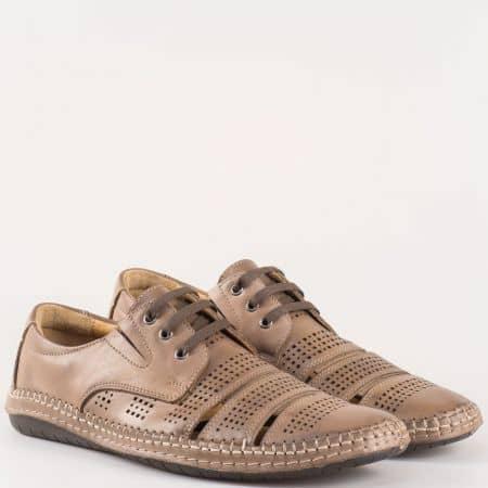 Мъжки комфортни обувки с перфорация изработени от изцяло естествена кожа в кафяв цвят 424107k