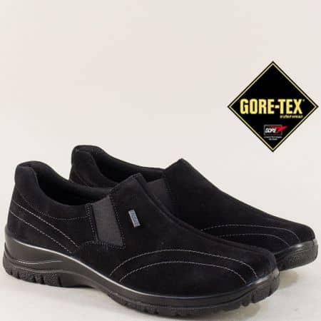 Велурени дамски обувки в черно с Gore- Tex мембрана 4257vch