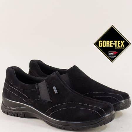 Gore- Tex дамски обувки от естествен черен велур  4257vch