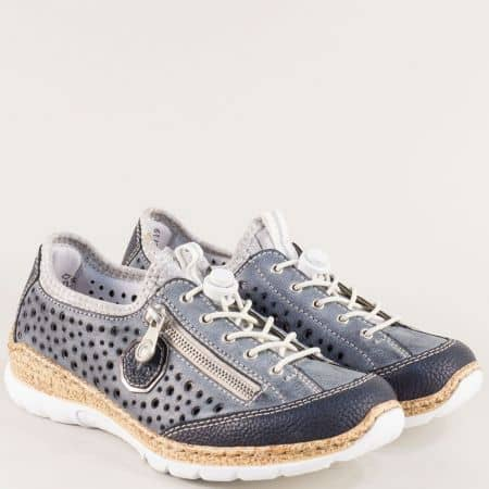 Перфорирани дамски обувки на шито ходило в син цвят 426s