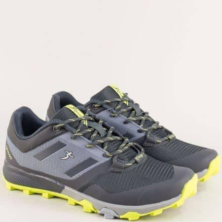 Спортни мъжки обувки с връзки в сив цвят- Knup 4275-45svz
