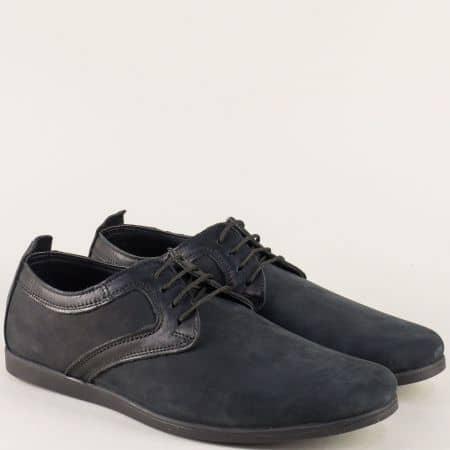 Мъжки обувки в черен цвят от естествен набук и кожа 42nch