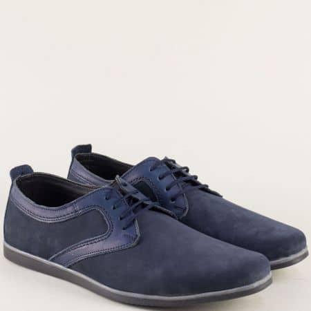 Мъжки обувки от естествен набук и кожа в син цвят 42ns