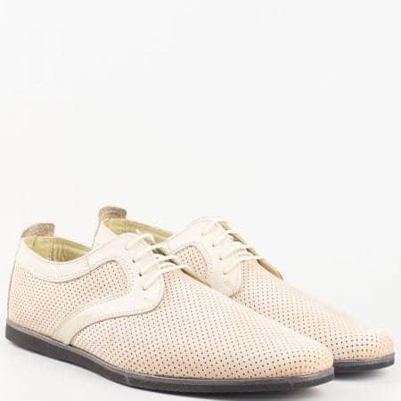Мъжки ежедневни обувки изработени от висококачествени естествени материали - сая от набук и хастар от кожа в бежов цвят 42nzbj