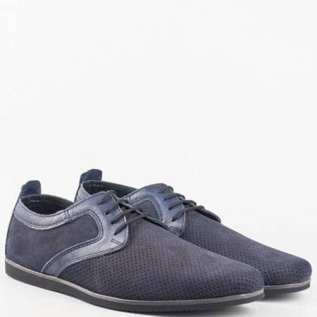 Мъжки обувки на удобно ходило изработени от 100% естествени материали - набук и кожа в син цвят 42nzs