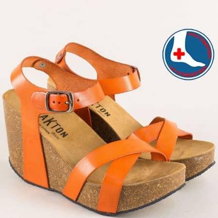 Испански дамски сандали от естествена кожа в цвят оранж  433002o