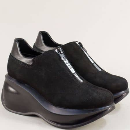 Дамски обувки на платформа с цип в черен цвят 433525nch