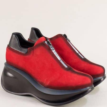 Дамски обувки с цип и кожена стелка в червен цвят 433525nchv