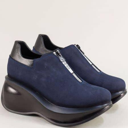 Тъмно сини дамски обувки с цип от естествен набук 433525ns