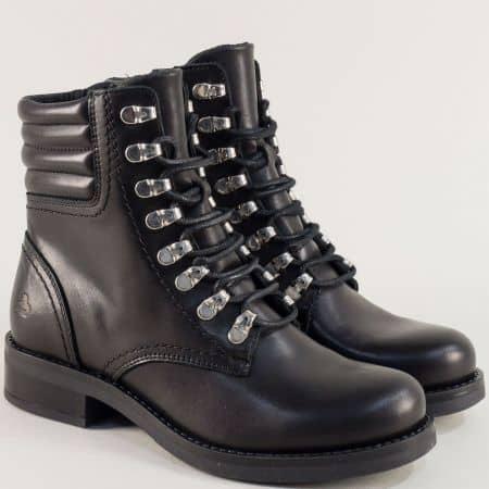 Черни дамски боти на нисък ток от естествена кожа 434524ch