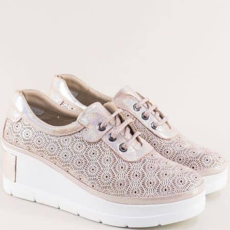 Дамски обувки на платформа от естествена кожа в розово 434948rz
