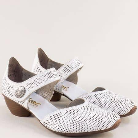 Кожени дамски обувки с перфорация в бяло- RIEKER 43767b