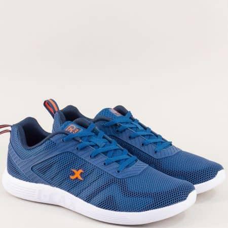 Мъжки спортни обувки в син цвят на бяло ходило 4399-45ts