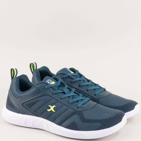Спортни мъжки обувки в зелено и синьо с връзки 4399-45tz